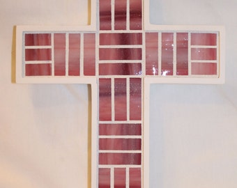 Pink Glass Mosaic Cross