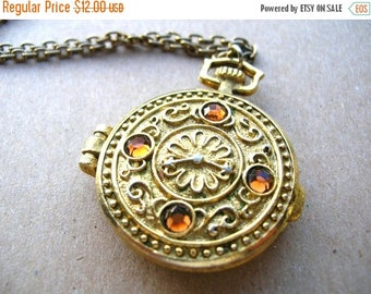 Avon Pocket Watch Locket Necklace - Pocket Watch Necklace - Pocket Watch Locket