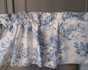 2 Country Curtains,shabby chic cottage chic blue  white toile fabric valance  hermina's french country valance,  toile french kitchen