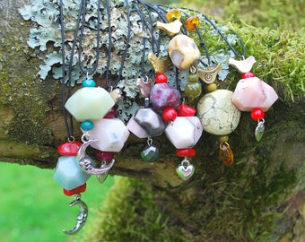 Purple Raw Tourmaline Nugget Bead Bird Necklace Pendant, Nature Stone Boho Hippie Necklace, Gemstone Necklace, Bridesmaids Gift, Mothers Day