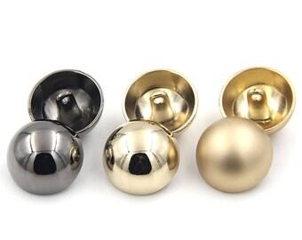 6 pcs 0.39~0.98 inch Fashion Light gold/Gun black/Matte gold Mushroom Metal Shank Buttons for Coats Sweaters