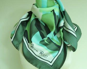 Nina Ricci silk scarf. 50s silk scarf, French silk scarves, green silk scarf,  silk scarf square, hand rolled,designer scarves, abstract