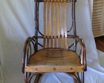 Charming Vintage Amish Twig Bentwood Rocking Chair / Rocker / Sturdy / Hand Made / Slat Seat and Back