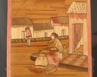 Vintage Mexican Folk Art Popotillo Straw Painting