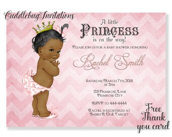 Pink African American Baby Shower Invitation | Pink Girl Baby Shower | Pink Baby Shower | Royal Baby Shower | Princess Shower Printable