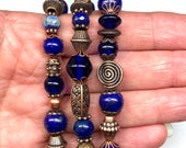 Three Strands Beaded Stretch Bracelets, Various Shapes of Lapis Lazuli , Cobalt Glass Beads,  & Copper Beads.