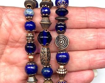 Three Strands Beaded Stretch Bracelets, Various Shapes of Lapis Lazuli , Cobalt Glass Beads,  & Copper Beads.