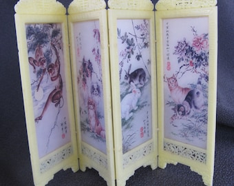 vintage dollhouse folding screen or room divider with Chinese art