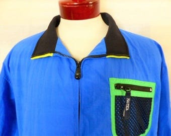 vintage 90's Nautica H2O summer sports sailing jacket color block blue black neon yellow green trim windbreaker mesh lined full front zip