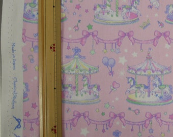 Classical and Modern Japanese Fabric  / Merry Go Round Oxford Fabric Pink - 50cm x 110cm