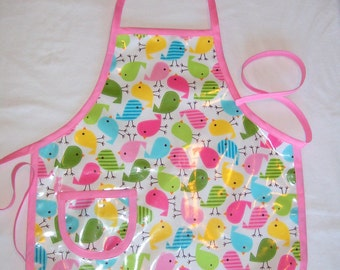Sweet Chicks Vinyl Child Apron - Painting Apron - Pink Toddler Apron - Size Medium