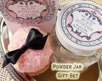 Bath POWDER Jar Set - Complete with dusting powder, powder puff, and powder sifter insert - LIMITED QUANTITY