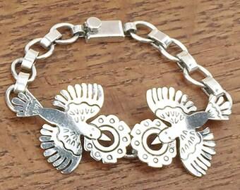 Mexican Silver Jewelry Vintage Sterling bracelet 925 Cony bird peyote flower Taxco Hecho en Mexico 1980s