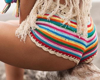 Crochet Beach Shorts Beachwear  Swimwear Festival Shorts