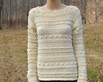 Two Shades Cream Sweater, Cream Pullover, Cream Jumper, Bohemian Sweater, Women Pullover, Hand Made Sweater, Knitted Pullover, Cream Pullove