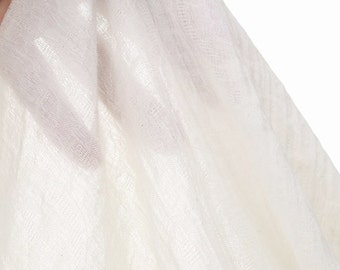 Off White Jacquard Fabric, Ivory Light Cotton Linen Blend Fabric, Scarf Clothing Fabric - 1/2 Yard