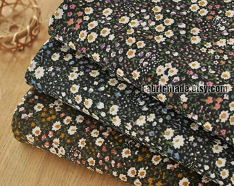 Corduroy Cotton Fabric, Pinstripes Black Brown Corduroy Cotton With Small Daisy Flower Fabric- 1/2 yard