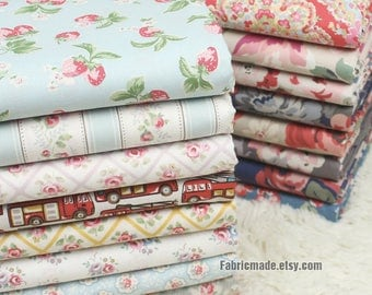 Shabby Chic Flower Cotton Fabric 100% Cotton Crisp Floral Cotton Fabric For Bag Craft - 1/2 yard