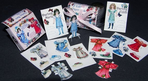 Dress Dolls Darling Marie and Edith, Paperminis, Bastelkit of paper in miniature for the doll parlor, the doll house, Dollhouse Miniatures