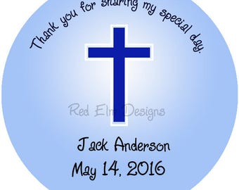 "Baptism Stickers, Baby Shower Stickers, First Communion Stickers - Sheet of 20 - 2"" round.  Boy Party Favors.  2 Inch Round"