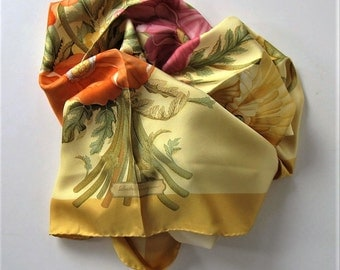 """Vintage Salvatore Ferragamo gold floral Silk Scarf, 34"""" x 34"""", Bouquet of poppies, Made in Italy, Accessory, hand rolled hem, gift idea"""