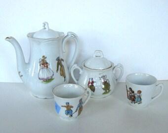 Antique Child's Tea Set, Made in Germany, Vintage toy, kids, Nursery decor, minature tea set, doll accessories, girl's room, gift idea