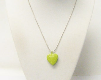 Lime Green Photo Heart Locket Pendant Necklace