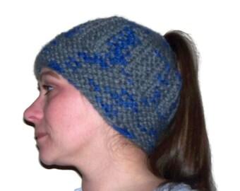 Messy Bun Hat, Ponytail Hat, Knit Hat, Warm Hat, Grey & Blue