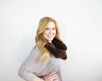 Brown Textured Scarf. Crochet Cowl Scarf. Knit Circle Scarf. Womens Brown Scarf. Winter Accessories. Fall Fashion. Gifts for Her. Loop Scarf