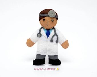 Felt DOCTOR, stuffed felt Doctor magnet or ornament, Doctor toy,People,Professions,Doctor magnet,Nursery decor,Doctor doll,Doctor ,Felt Doll