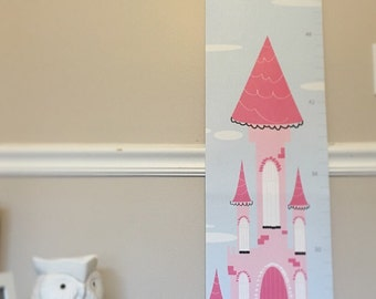 Personalized Princess Theme Canvas Growth Charts, Fairytale theme for girls, Writeable Princess theme, pink, Children's Room decor