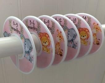 6 Baby Closet Dividers Organizers Girl Animals Baby Shower Gift