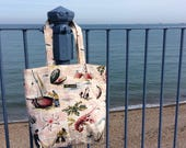 Vintage fabric tote bag - seaside pink barkcloth