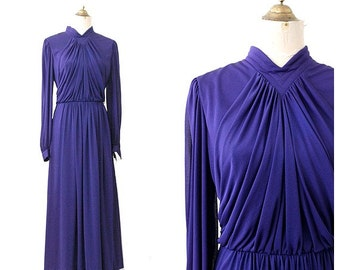 1970 long purple dress Drape Long sleeves