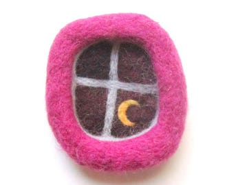 window brooch, needle felted pin, pink window, fiber art, felted wool badge.