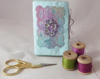 Needlebook form hand-dyed vintage lace, fabric flowers and embroidery by Lynwoodcrafts