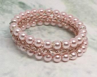 Rose gold and Swarovski pearl viking knit ladies wrap bracelet