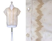 Swiss 1950's Blouse - Buttery Cream Blouse - Large UK20 - Vintage Blouse - 50's Embroidered Blouse