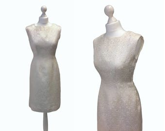 1950's Dress - 50's Vintage Dress - Metal Zipper Dress - Ivory And Gold Brocade Dress
