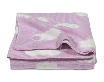 Woven Clouds Baby Blanket Light Pink 75 x 100 cm