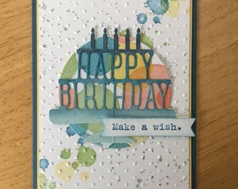 Stampin Up handmade Happy Birthday Day - Blue birthday card with candle in dots