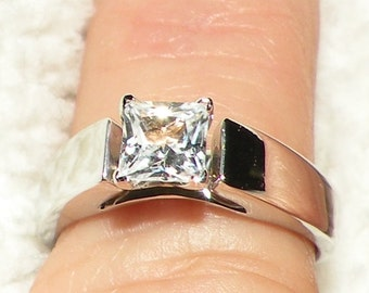 14k Cathedral Princess Cut Lab Diamond