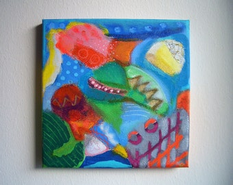 Small format, acrylic painting with strong colour on canvas, abstract