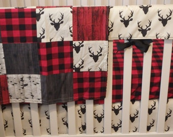 Bumperless Crib Set  Buck and Buffalo Plaid