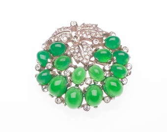 Boucher Brooch Green Grapes Wine High Dome Cabochon Clear Rhinestones