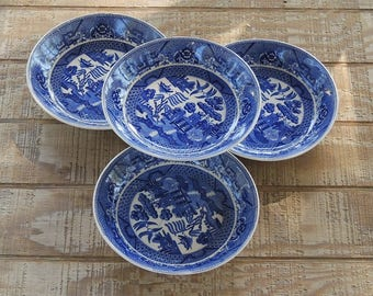 Blue and White Transferware Soup Bowls Set of 4 Blue Willow China Bowls Coupe Soup DMade in Japan Ca. 1930s Replacement China