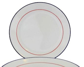Corelle Dinner Plates - 2 Dinner Plates White with Red/Blue Stripe