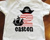 Toddler Boy Birthday Shirt, Pirate Birthday Shirt, 3rd birthday shirt, 2nd birthday shirt, boy birthday shirt, Pirate birthday