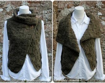 Knitting PATTERN - The Loden wrap, womens sleeveless jacket, cardigan - Listing133