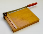Vintage Industrial Wooden Guillotine Paper Cutter Trimmer with Curved Blade and Ruler